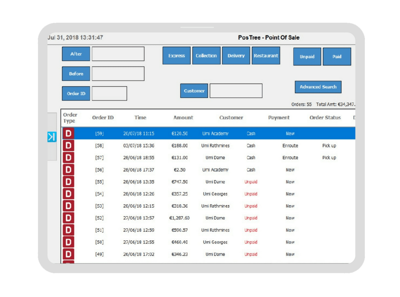 point of sale screen